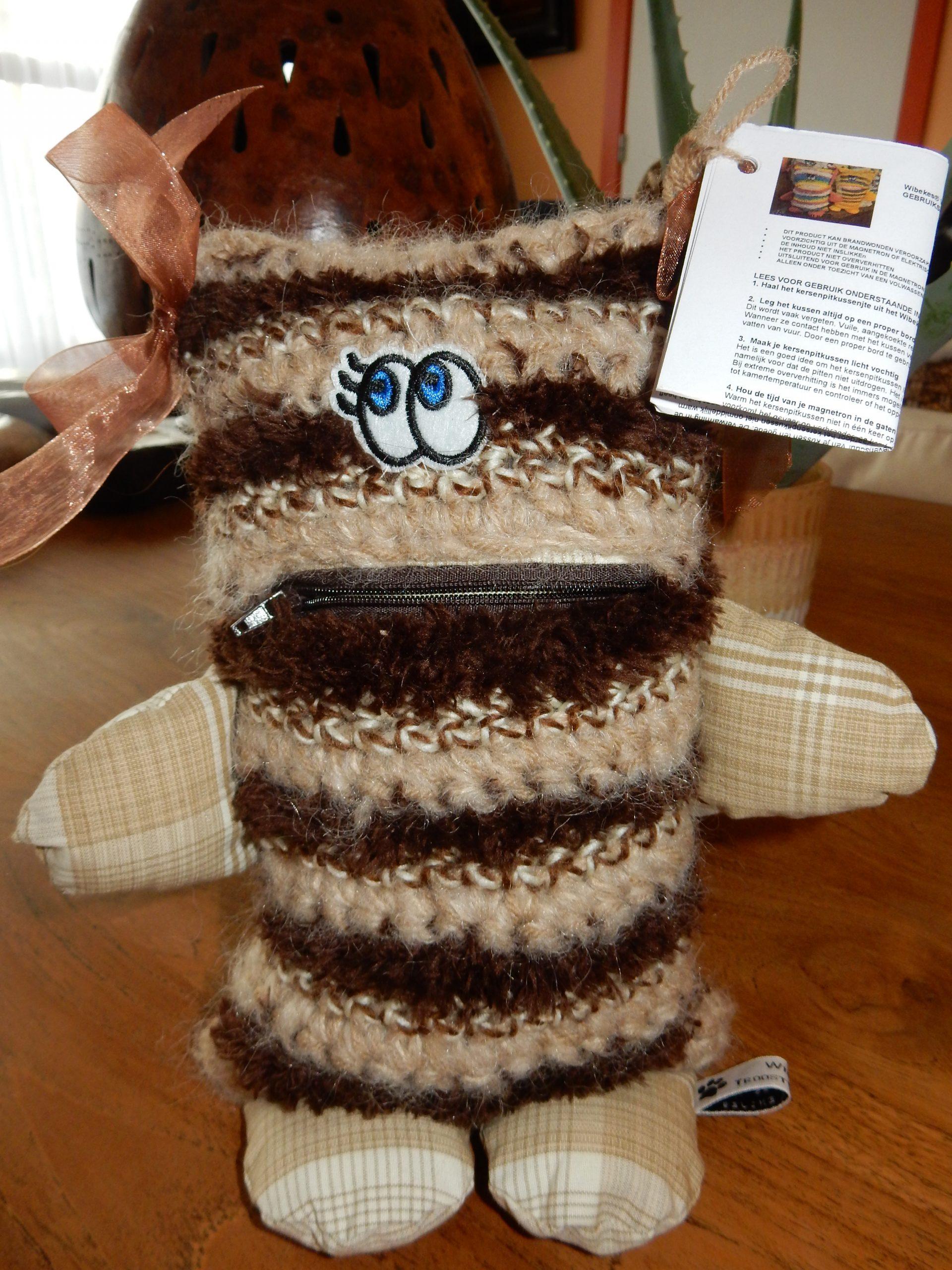 NIEUW !!!! Wibekes Warm Troostvriendje (met kersenpitkussentje) - Brownie 1  -- GERESERVEERD