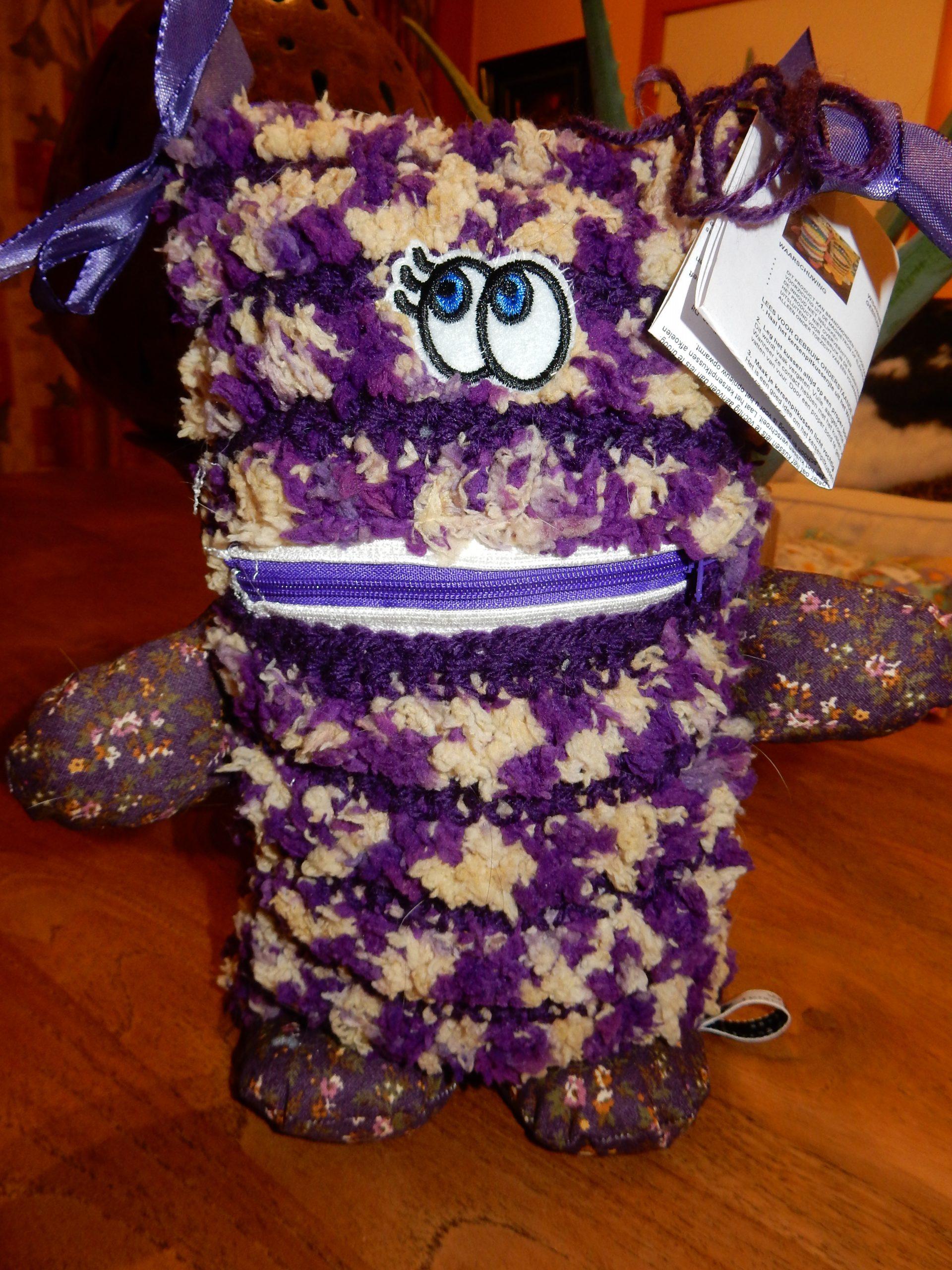 NIEUW !!!! Wibekes Warm Troostvriendje (met kersenpitkussentje) - Romantic Purple